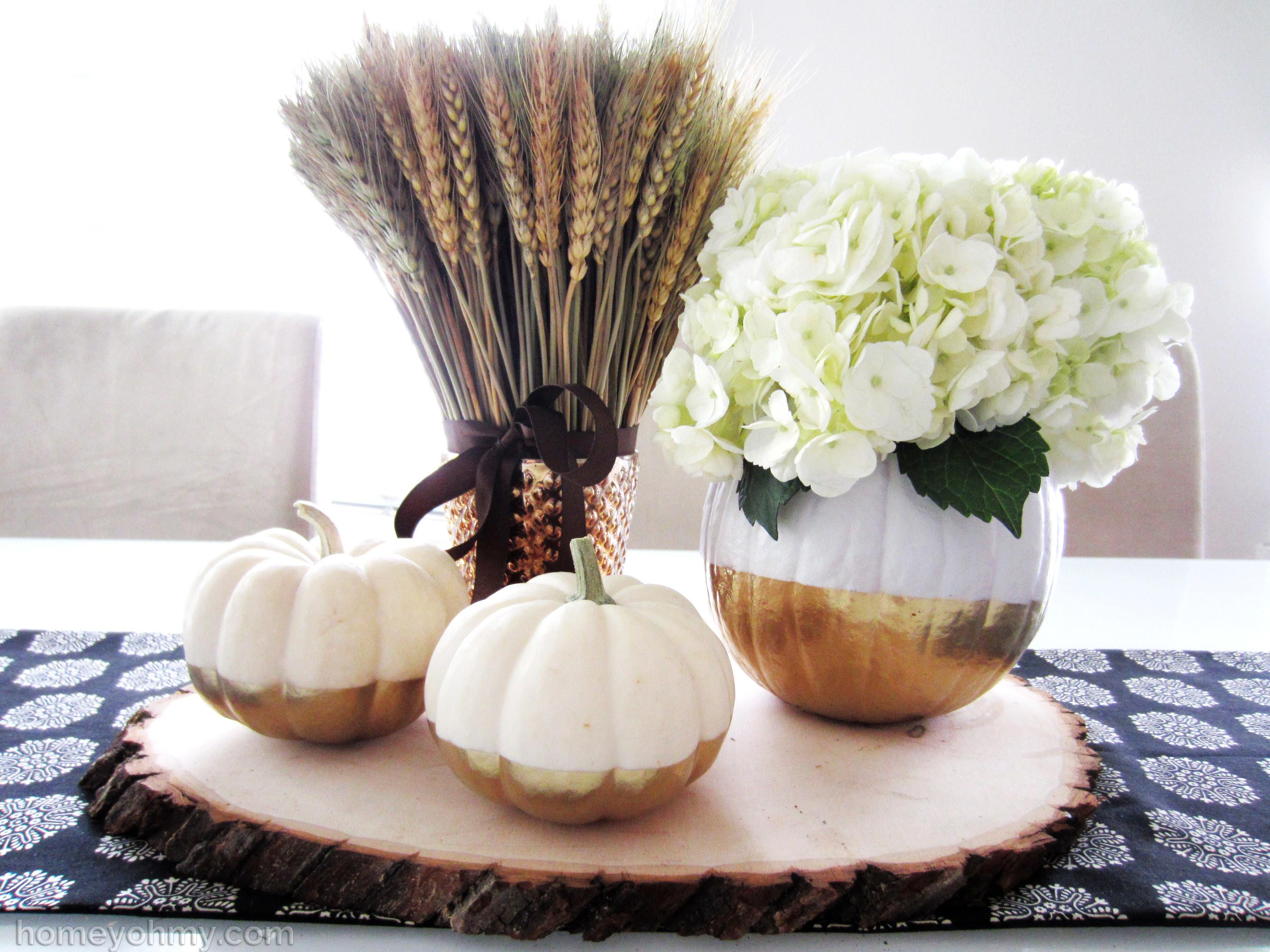 Diy Gold Dipped Pumpkin Vase