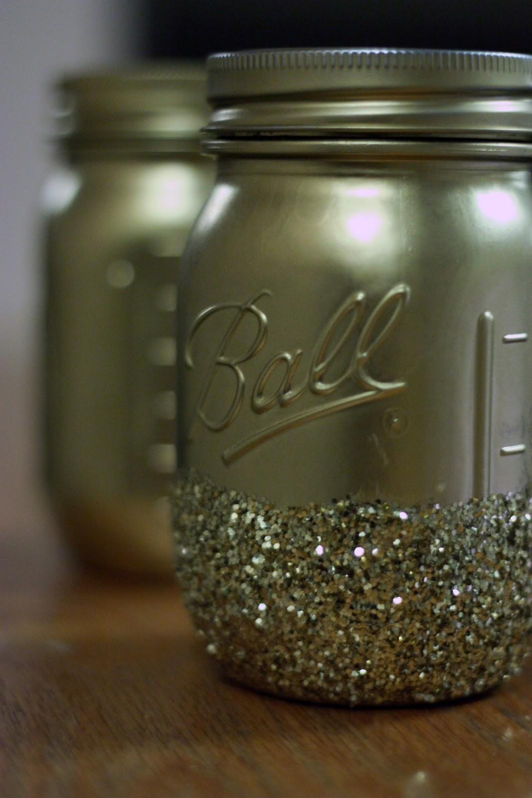 Diy Gold Glitter Dipped Mason Jars Caro Diaries