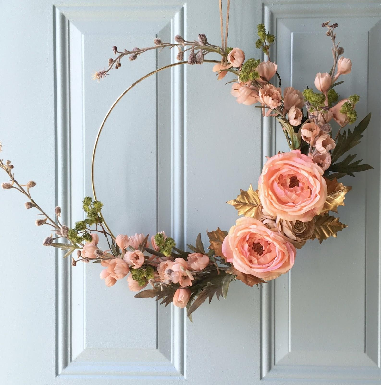 Diy Gold Hoop Fall Inspired Wreath Restyle Wright
