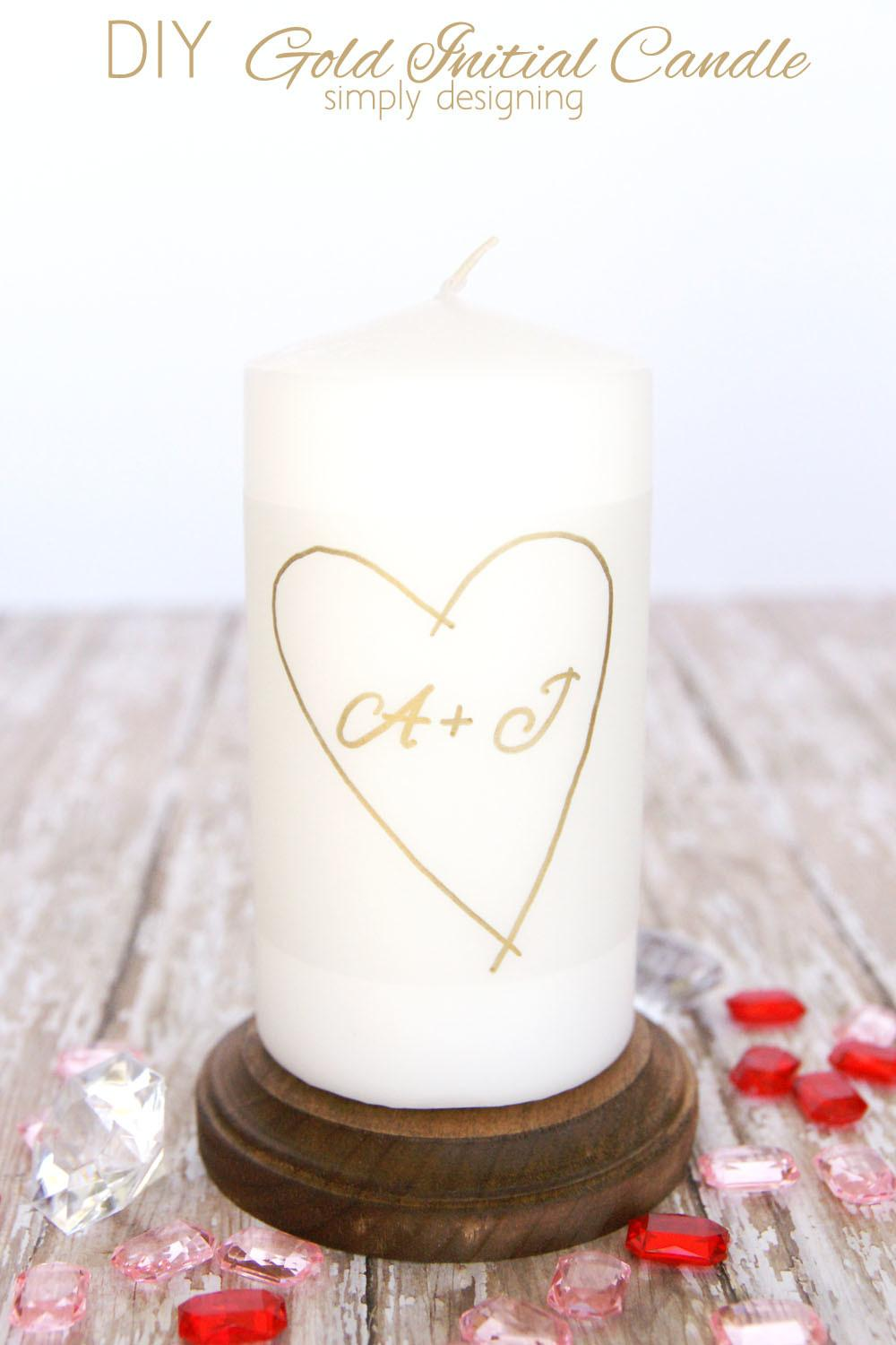 Diy Gold Initial Candle
