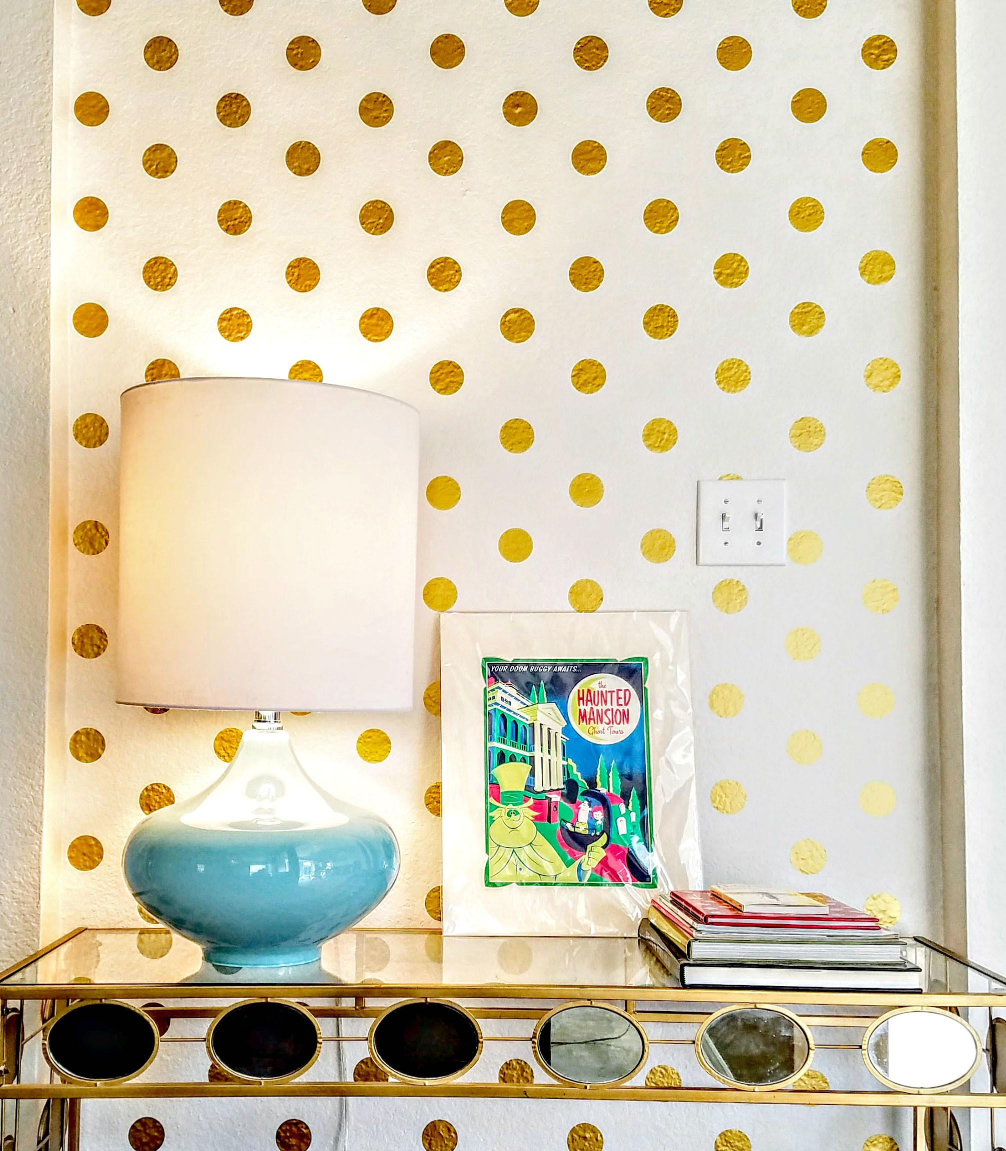 Diy Gold Polka Dot Wall Glowing Charm Home