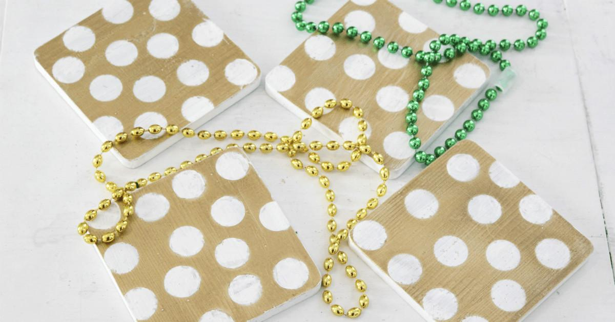 Diy Gold White Polka Dot Coasters Home Zan