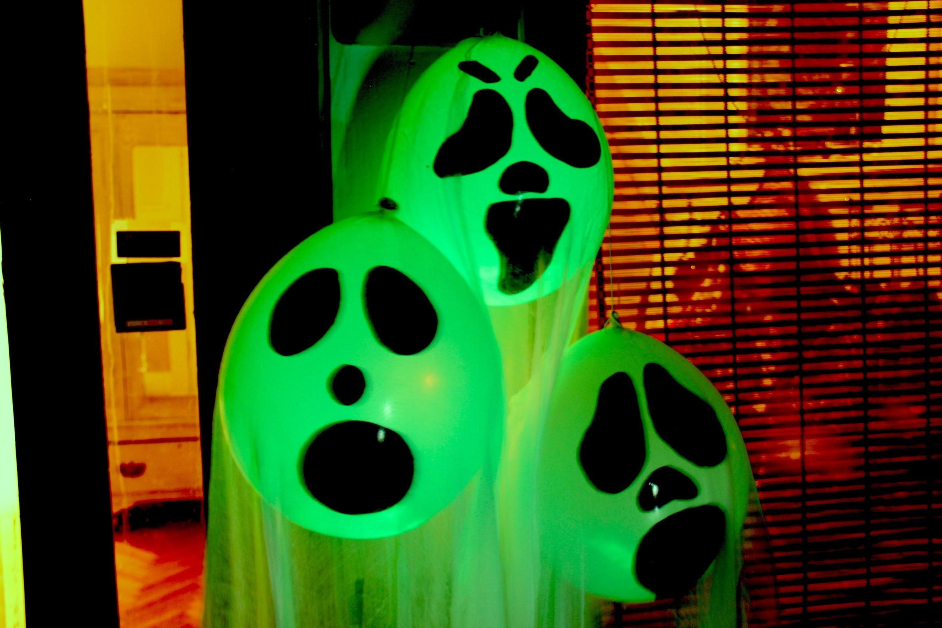 Diy Halloween Ghost Glow Balloons Yard Decorations