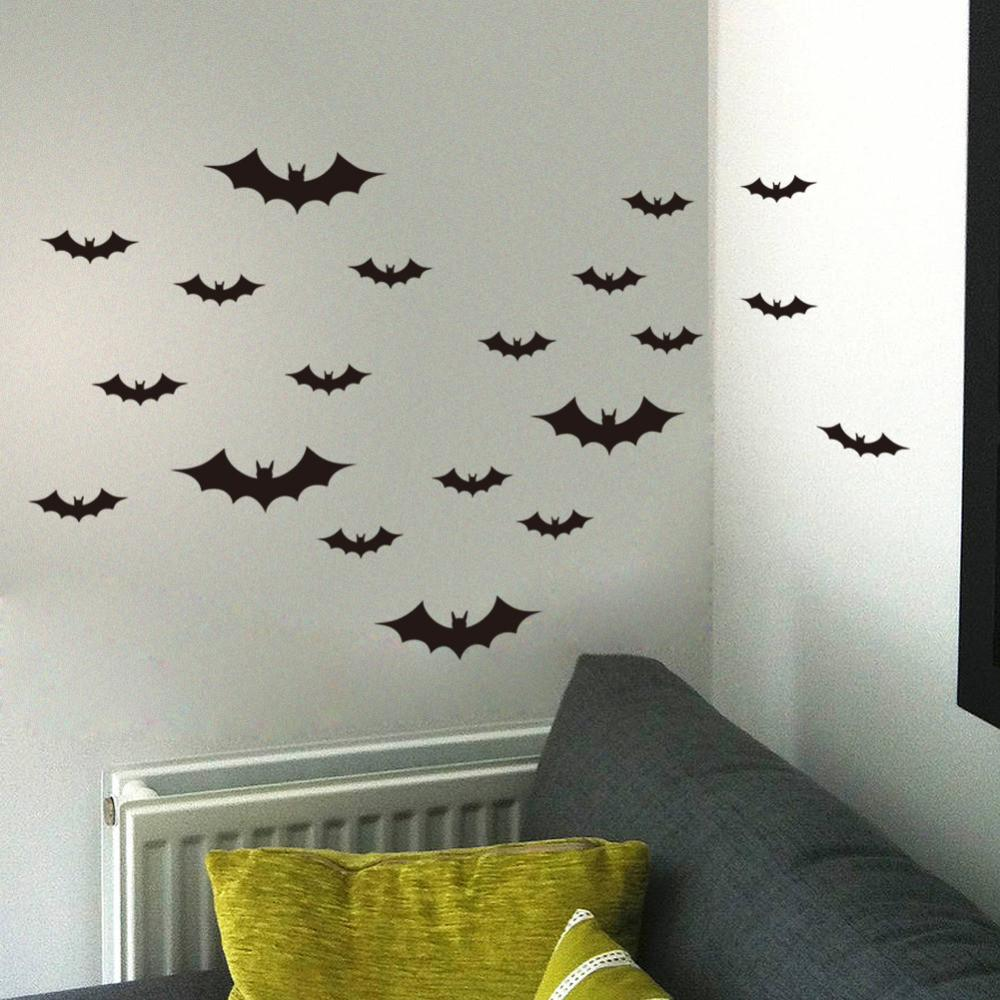 Diy Halloween Party Black Decorative Bats Wall