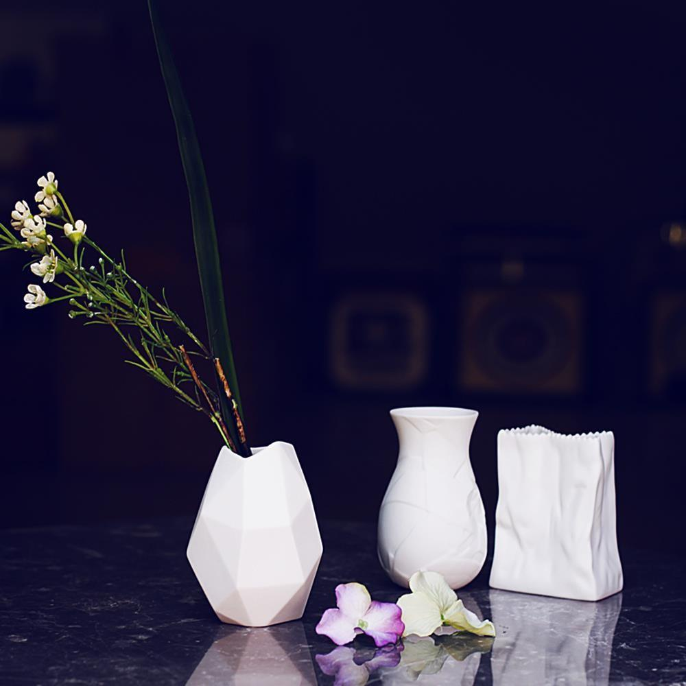 Diy Handmade White Porcelain Flower Vase Cute Mini Matte