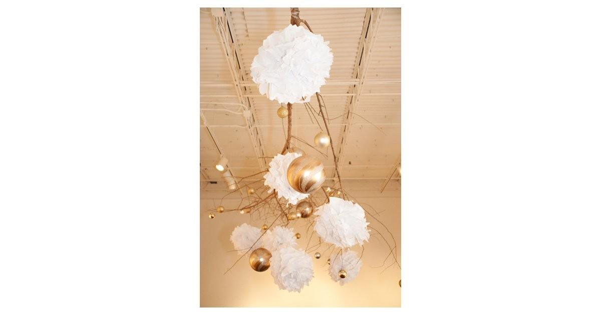 Diy Hanging Branch Ornament Pom Holiday Decor