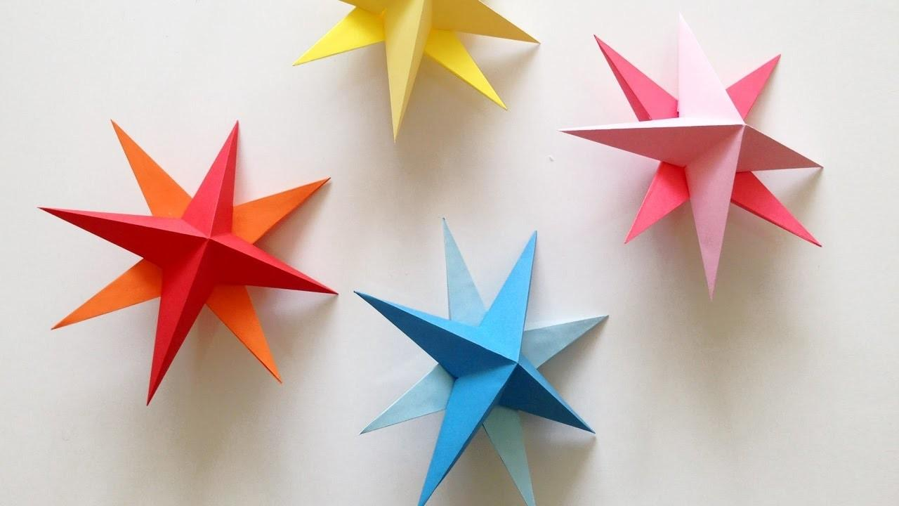 Diy Hanging Paper Star Tutorial Christmas Birthday
