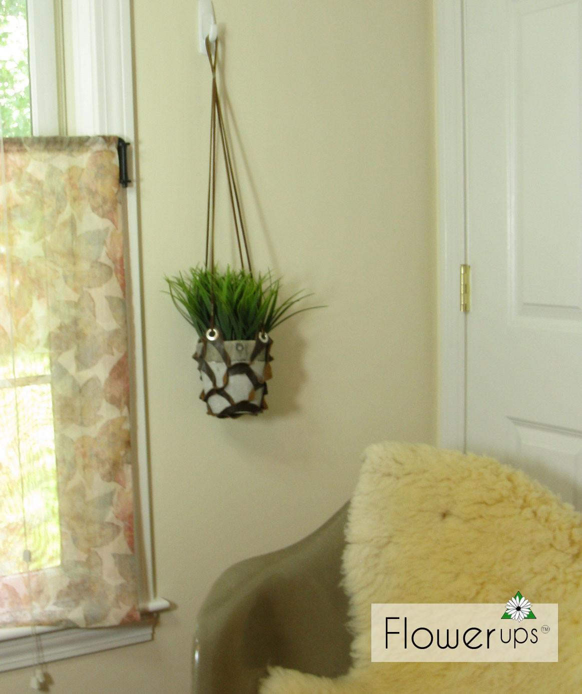 Diy Hanging Planter Cut Leather Grommets Flowerups