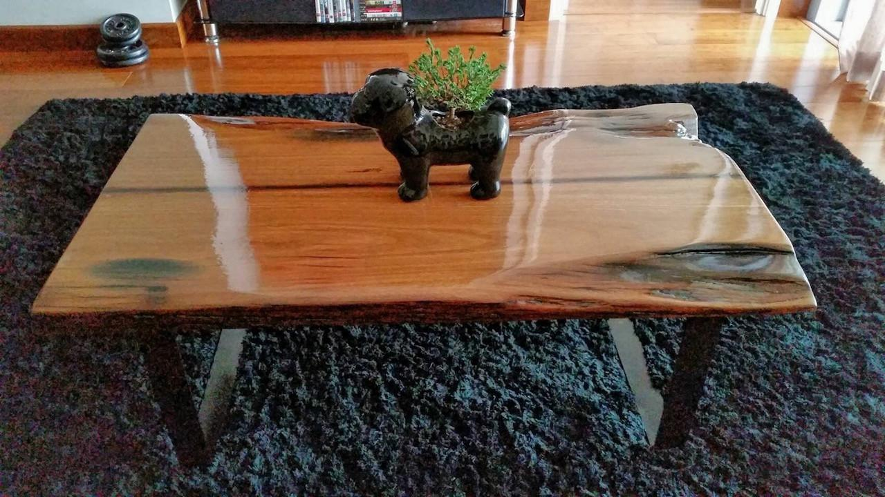 Diy Hardwood Coffee Table Made Out Recycled Wood Part