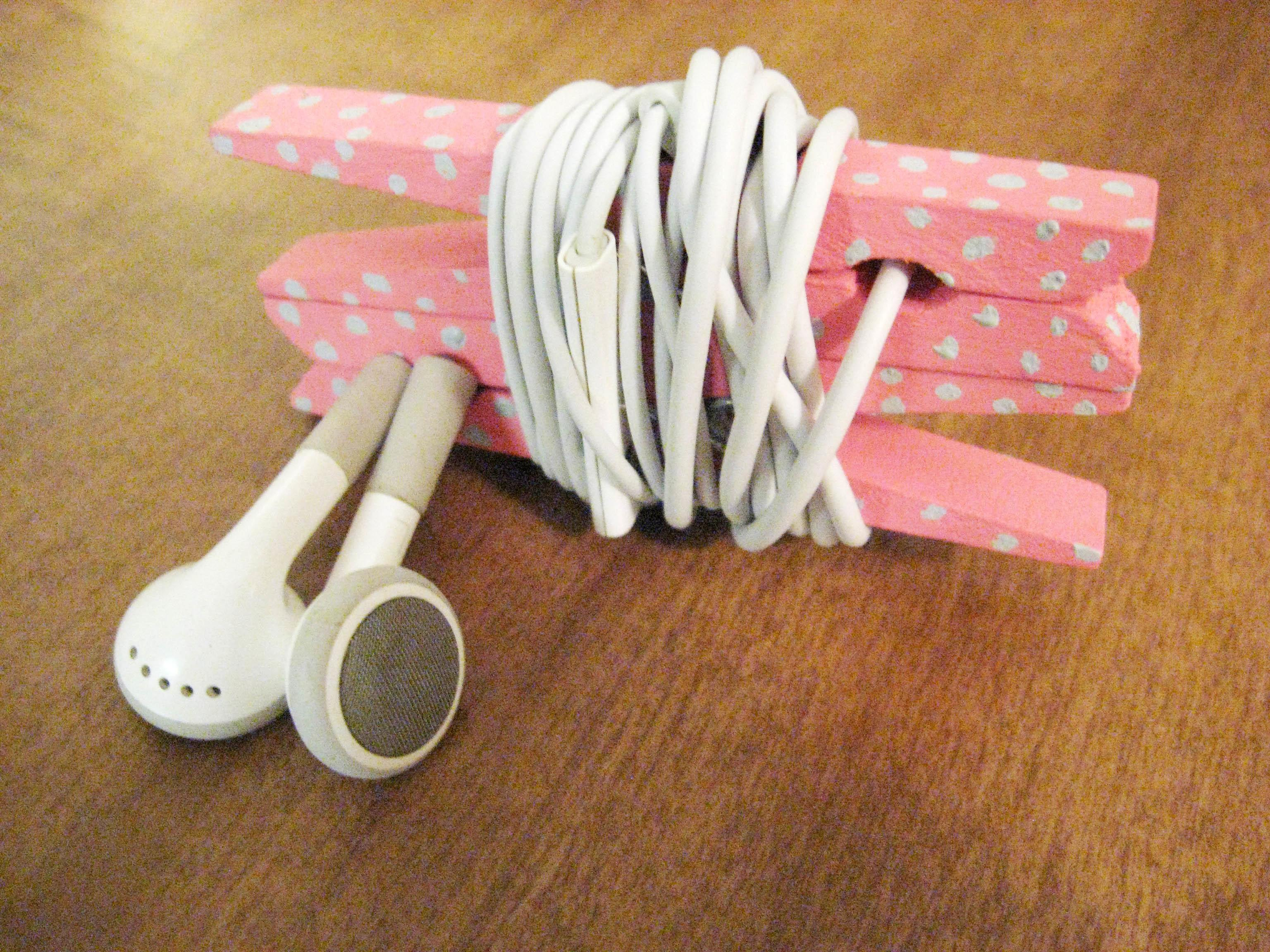 Diy Headphone Organizer Clothespins Make Something