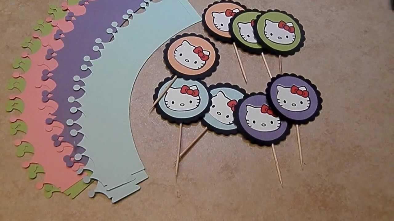 Diy Hello Kitty Bday Cupcake Wrappers Toppers