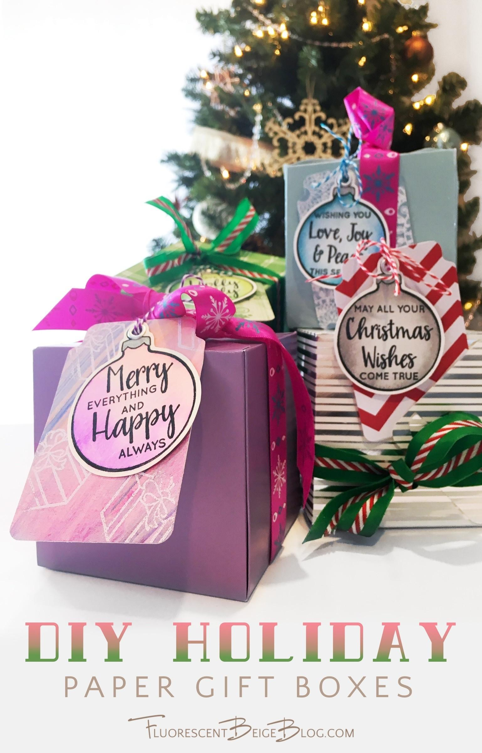 Diy Holiday Paper Gift Boxes Fluorescent Beige