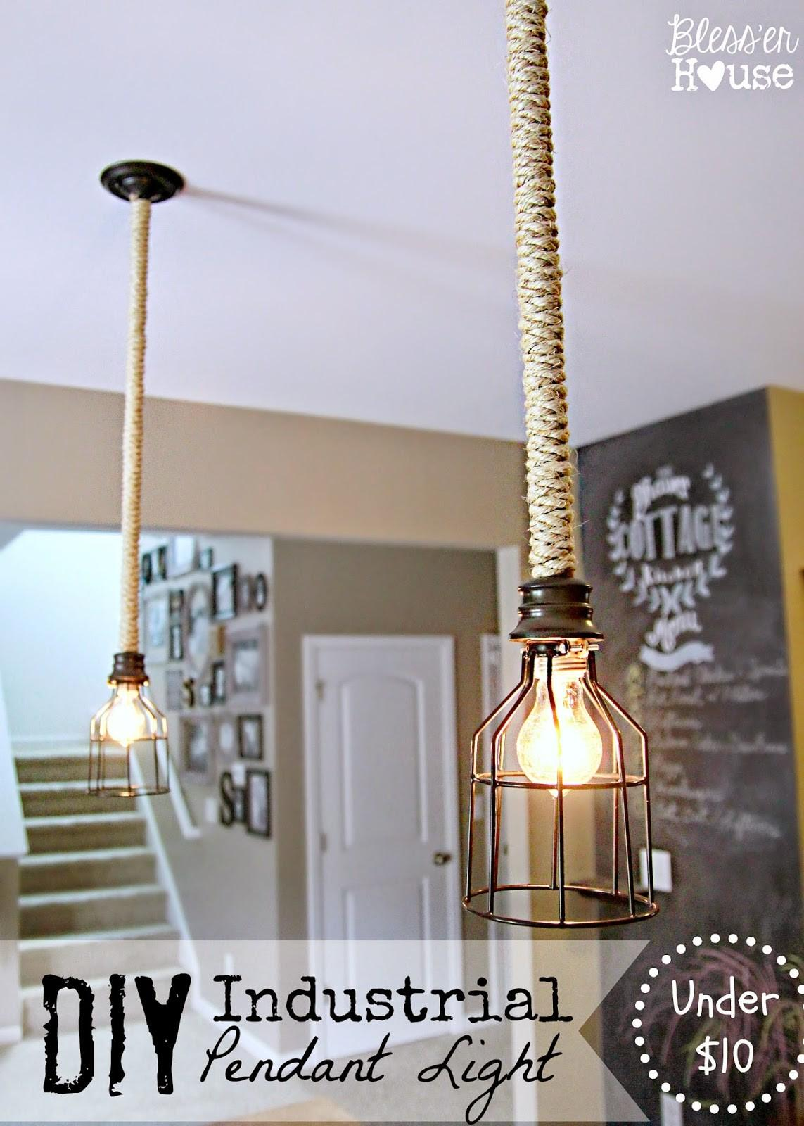 Diy Industrial Pendant Light Under Bless House
