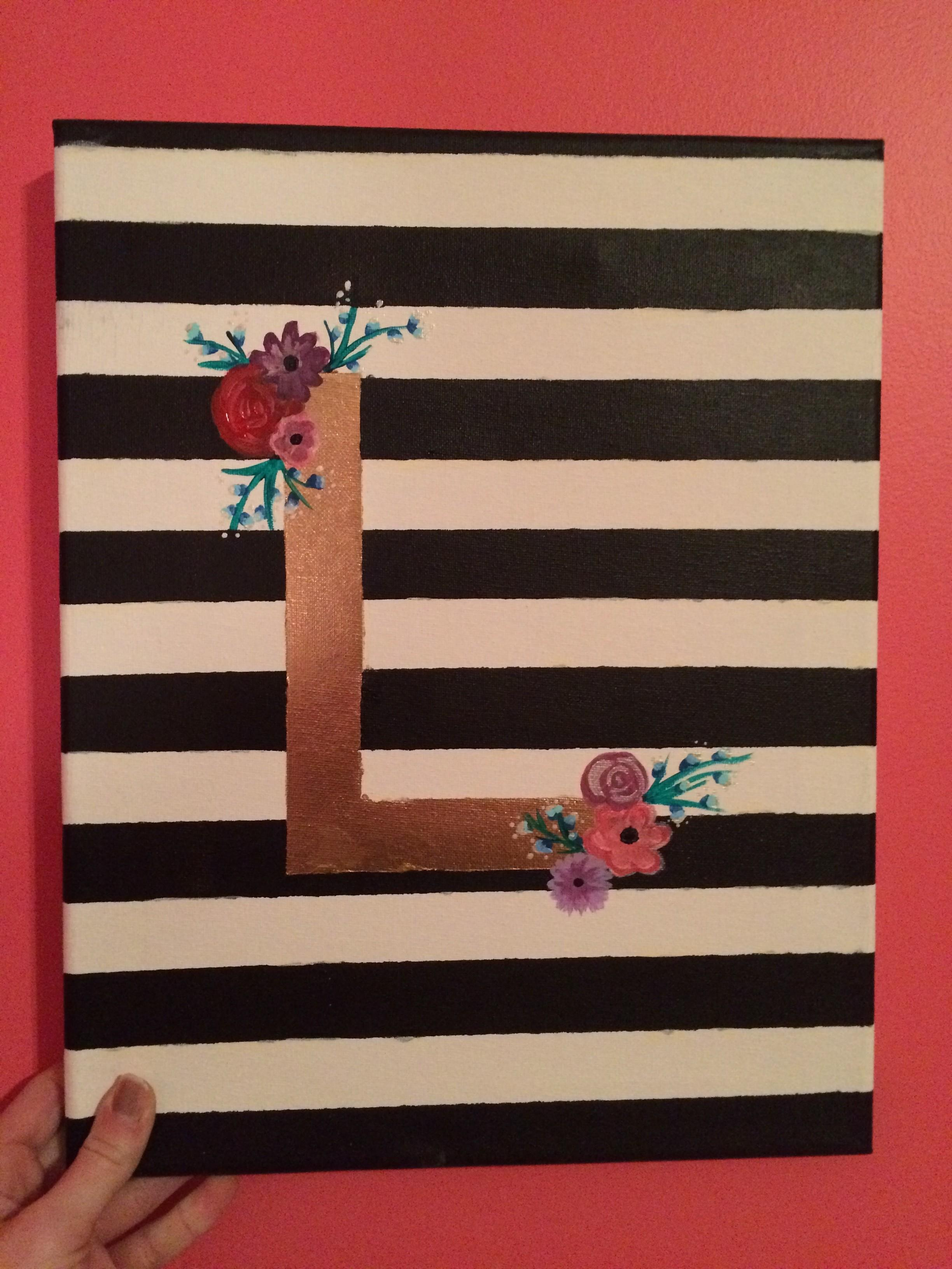 Diy Initial Canvas Arrow Chalkboard Glue Together