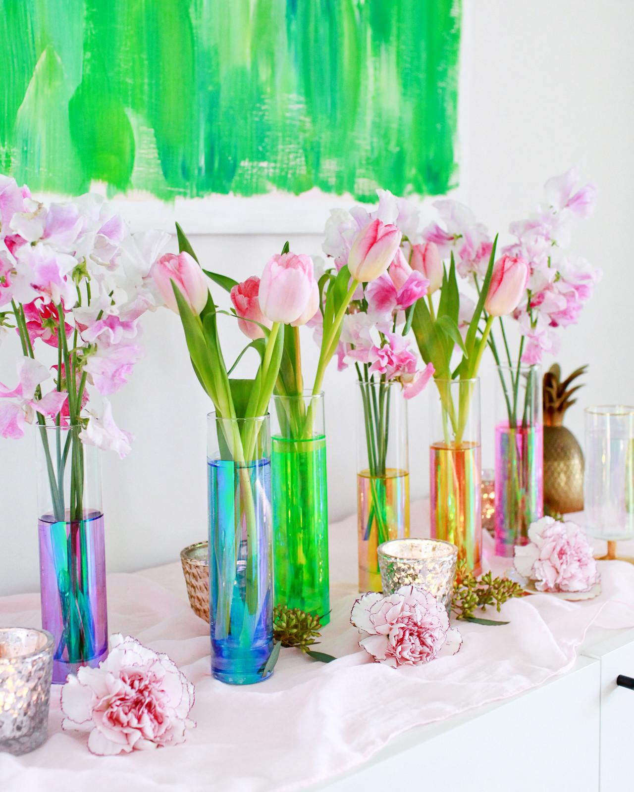 Diy Iridescent Rainbow Vases