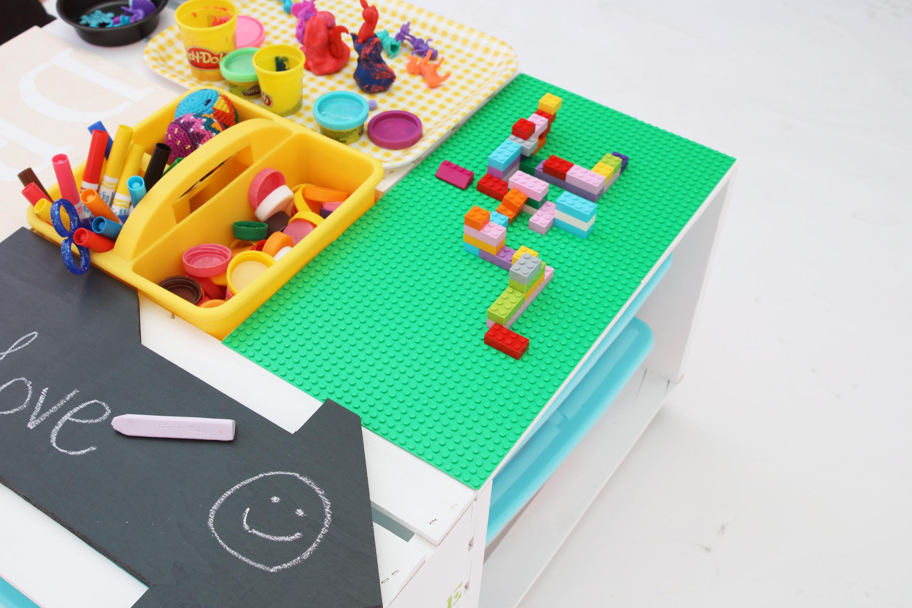 Diy Kids Activity Center Lego Table Made Wood