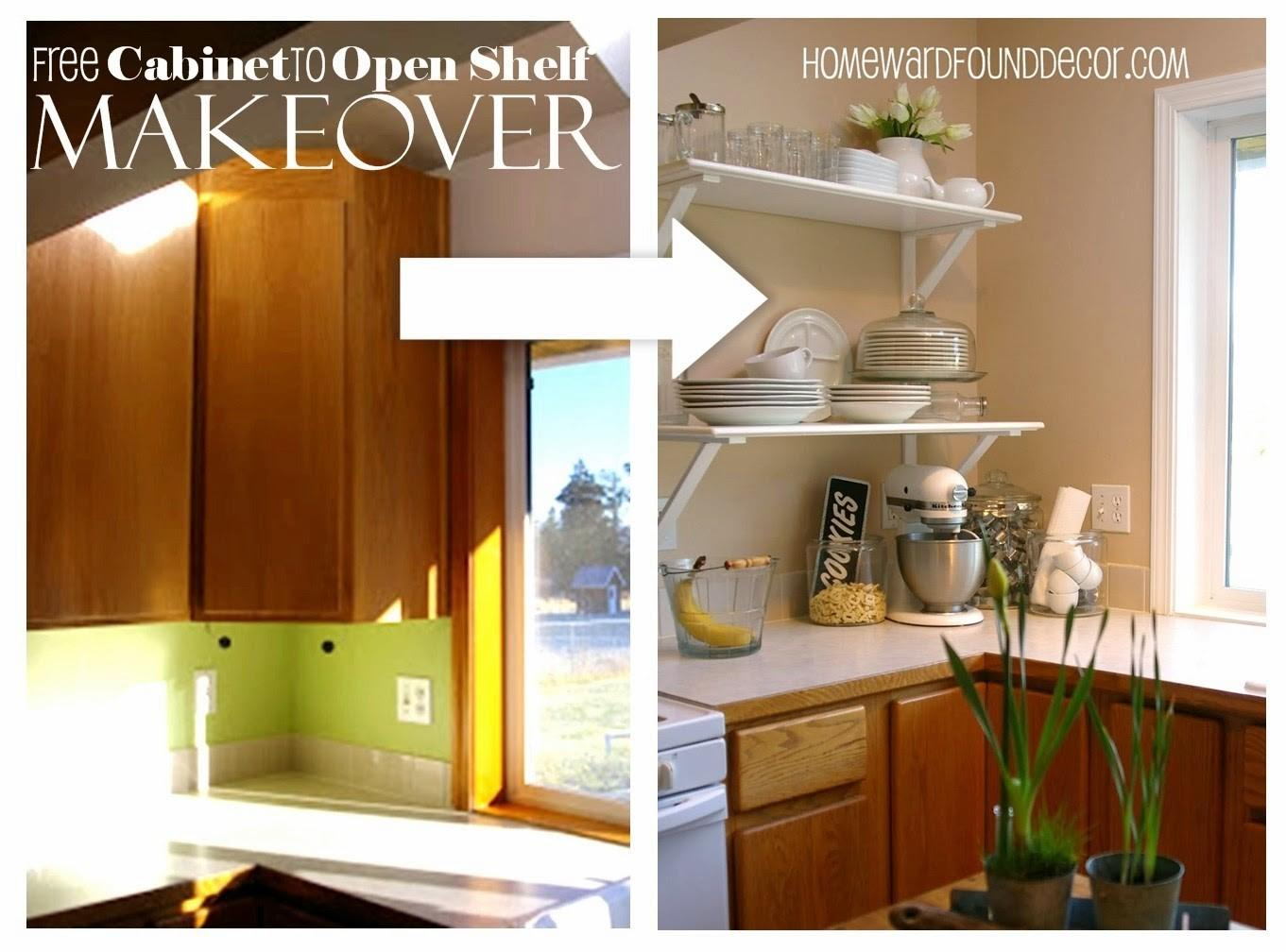 Diy Kitchen Cabinet Shelf Makeoverhomewardfounddecor