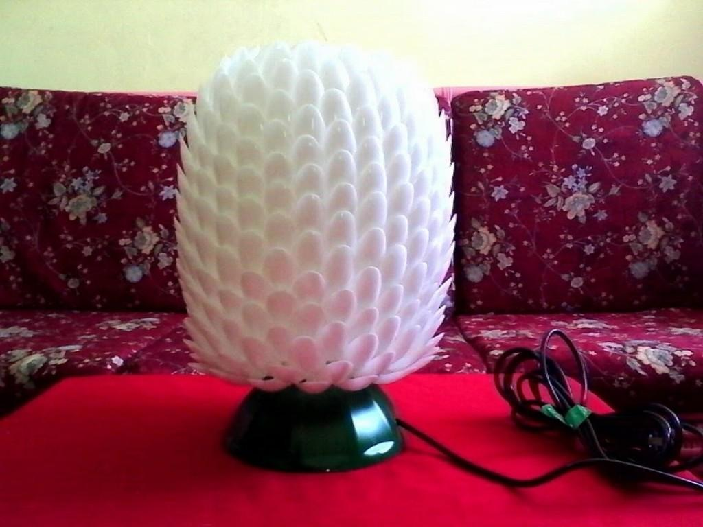 Diy Lampshade Made Recycled Plastic Spoons Bottle