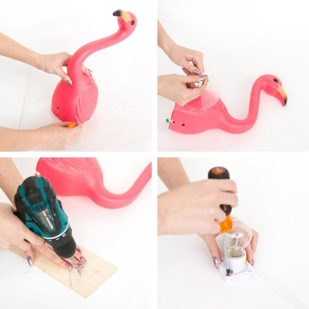 Diy Lawn Flamingo Wall Lamps