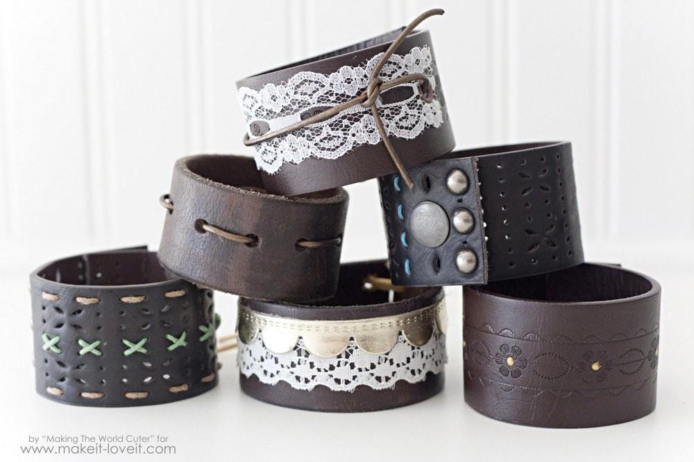 Diy Leather Cuffs Old Belts Make Love