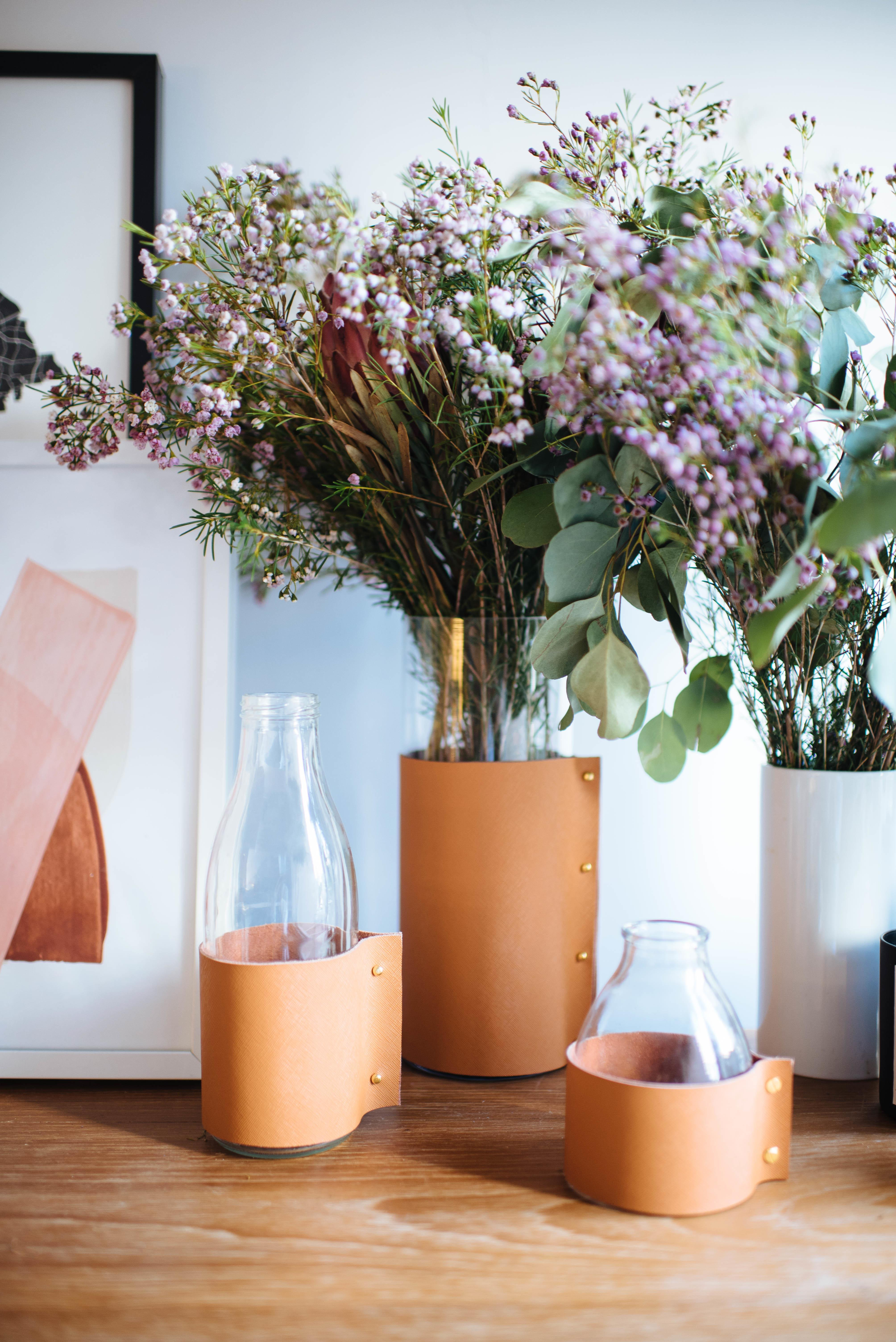 Diy Leather Wrapped Vases Pair Spare Howldb