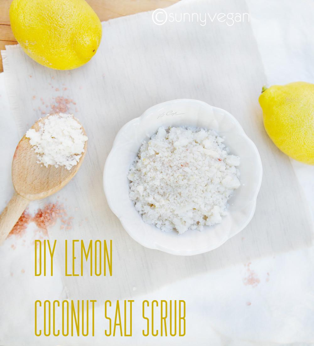 Diy Lemon Coconut Salt Scrub Recipe Sunny Vegan