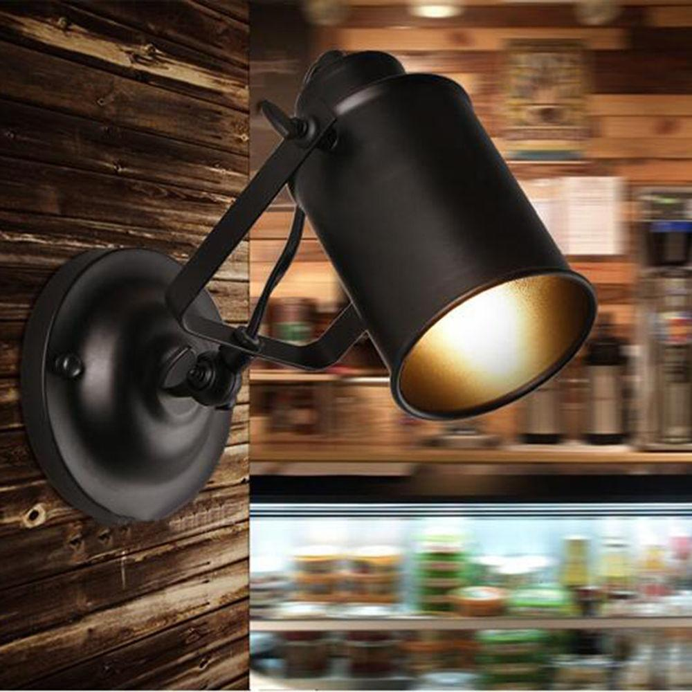 Diy Lighting Vintage Industrial Black Shade Wall Lamp