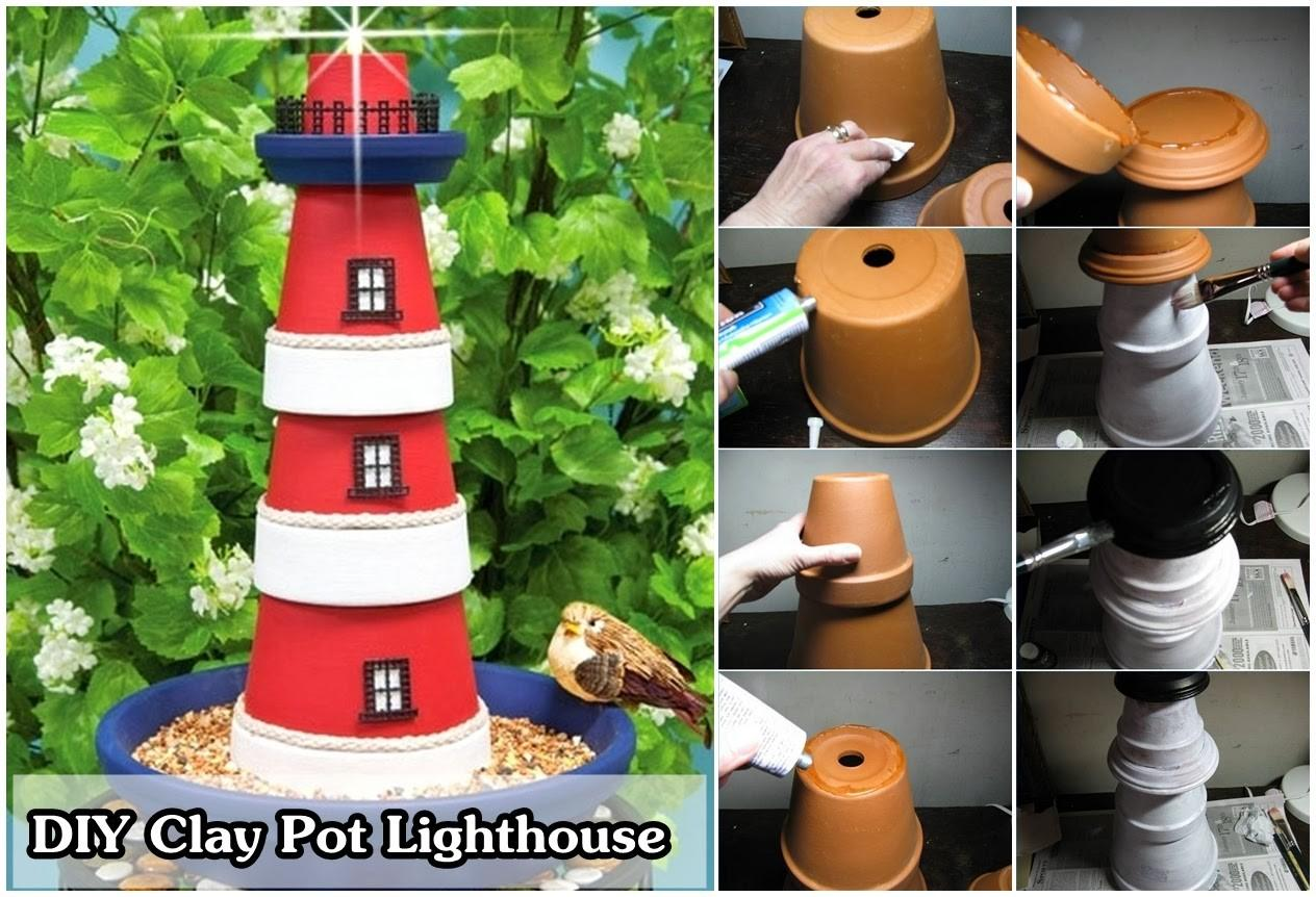 Diy Make Clay Pot Lighthouse Craft Projects