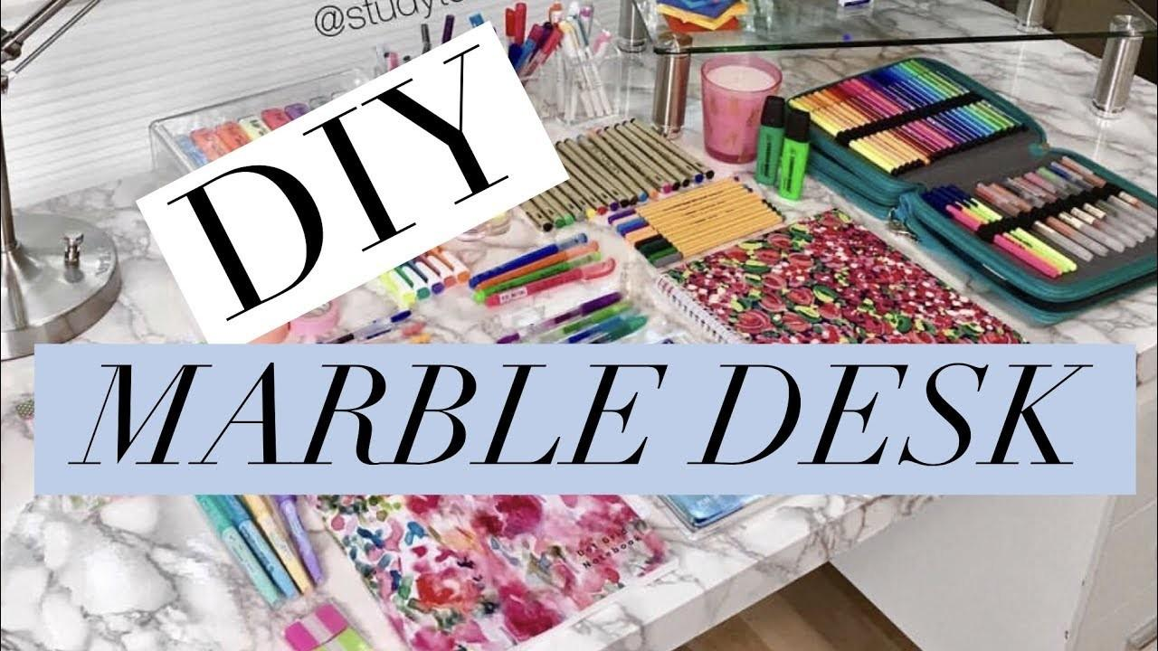 Diy Marble Desk Cheap Easy Makeover