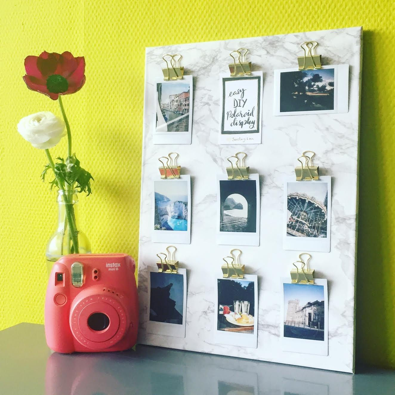 Diy Marble Polaroid Clips Display Surely Simple