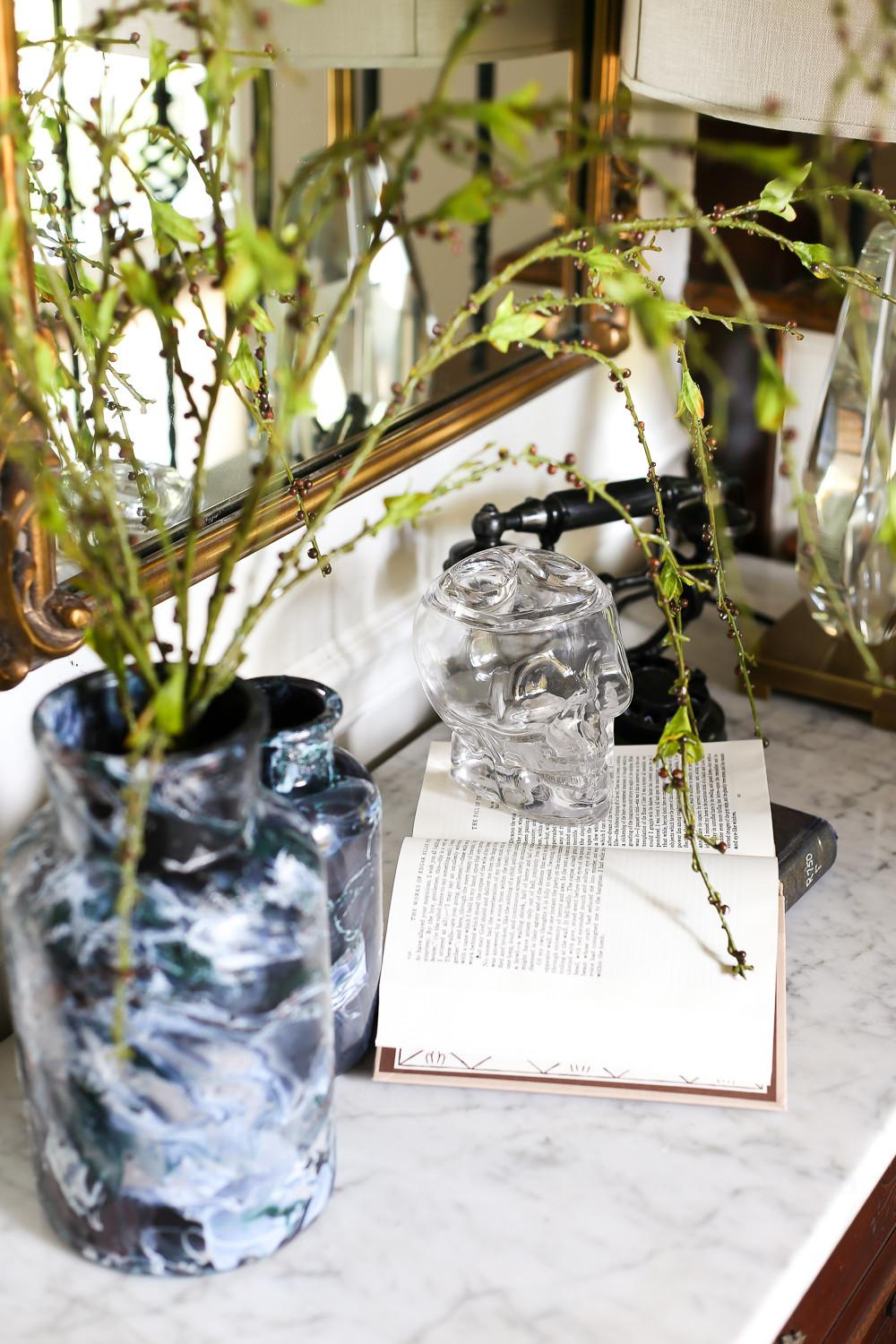Diy Marbled Vases Halloween Entryway Bless House