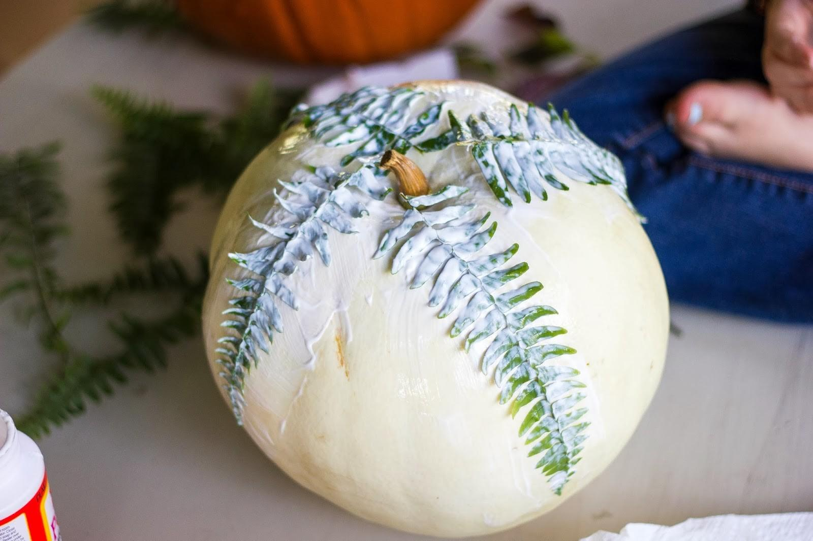 Diy Mod Podge Fern Pumpkin