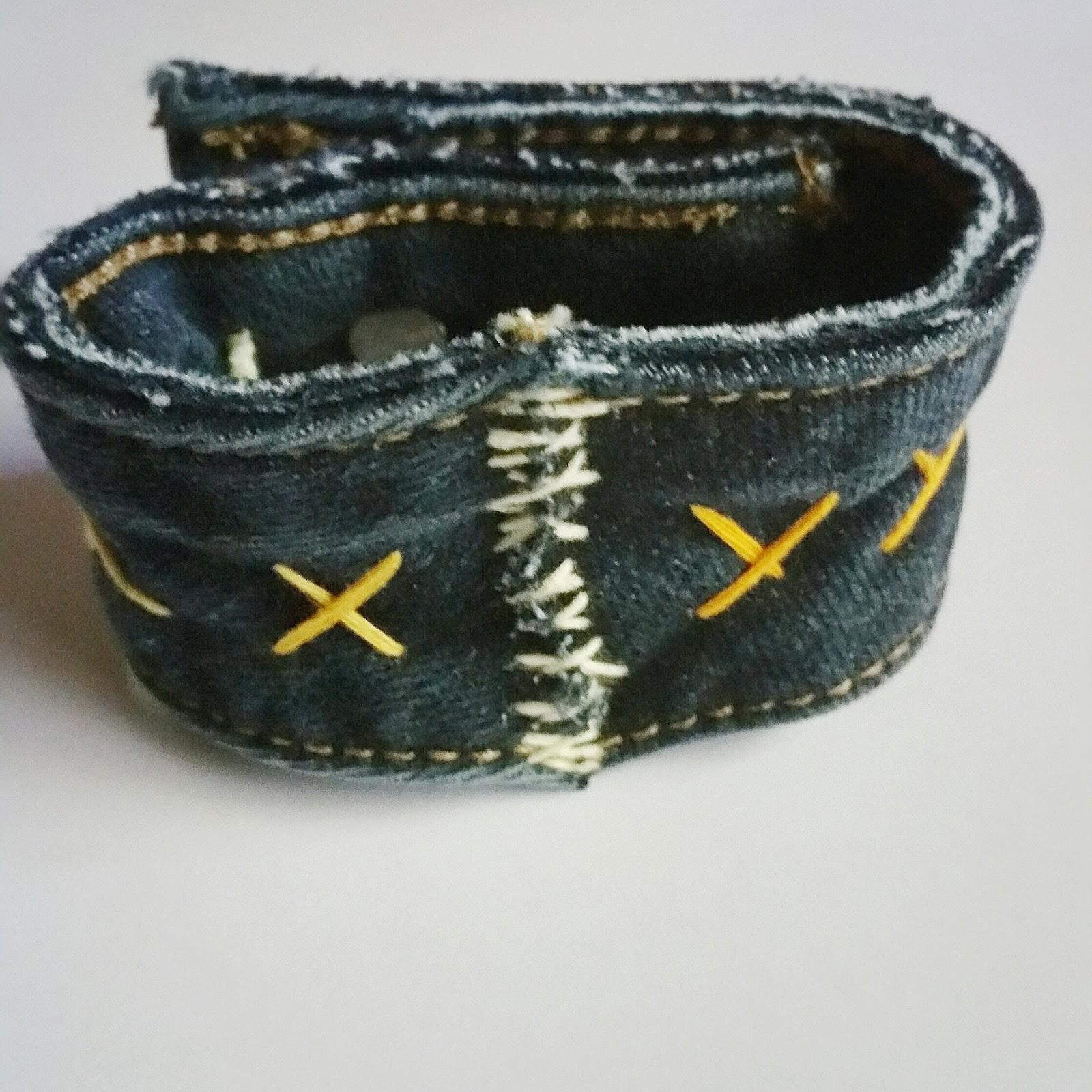 Diy Mom Upcycled Funky Denim Cuff Bracelet Idea