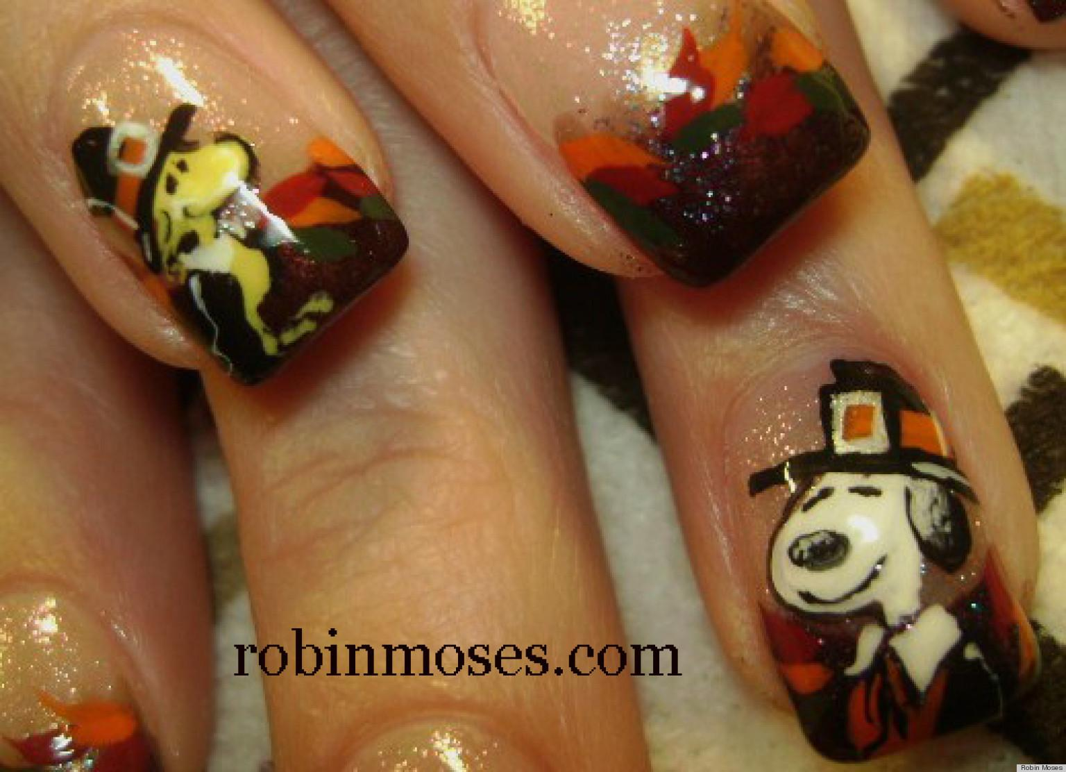 Diy Nail Art Snoopy Woodstock Thanksgiving Manicure