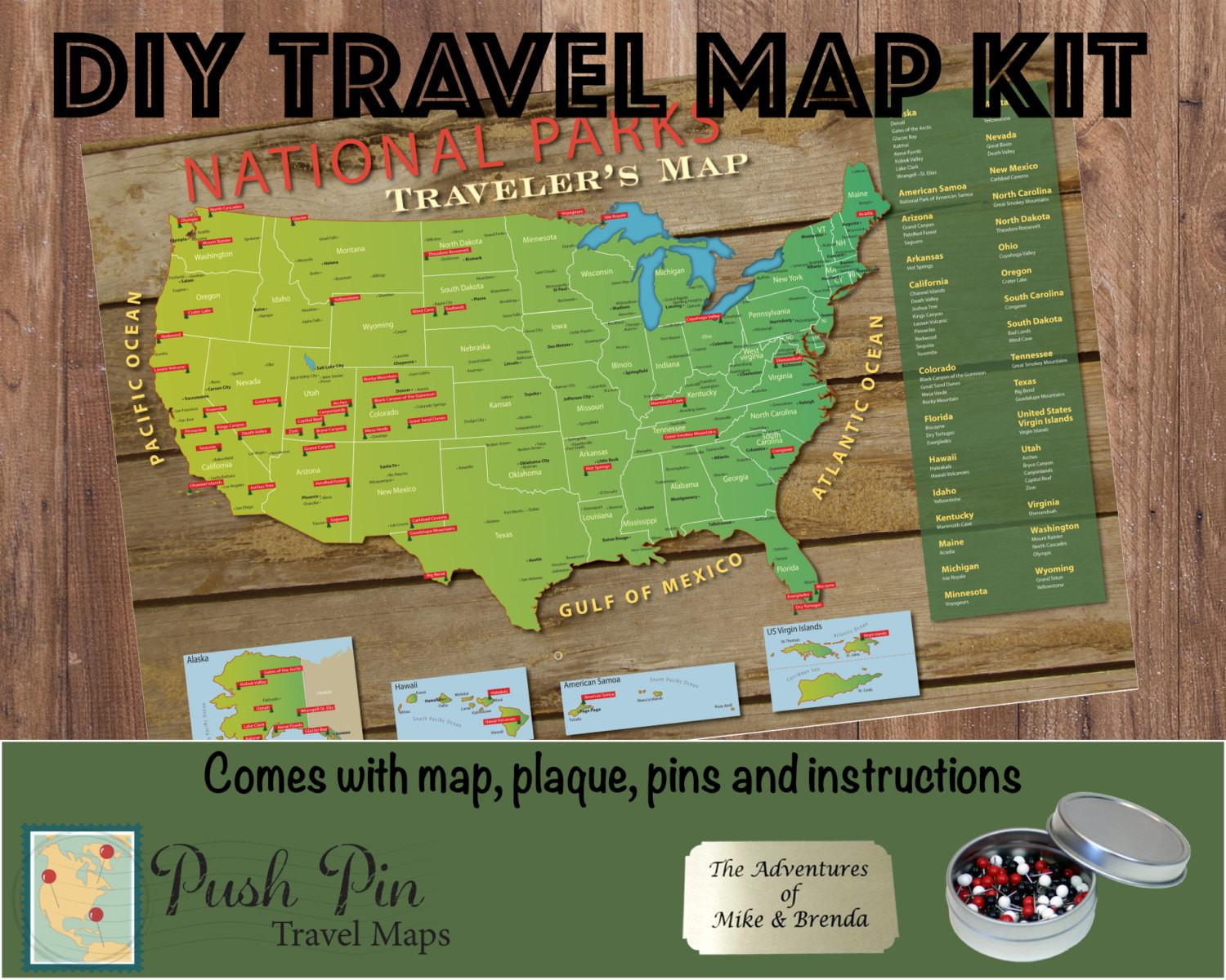 Diy National Parks Push Pin Travel Map Kit 100 Pins
