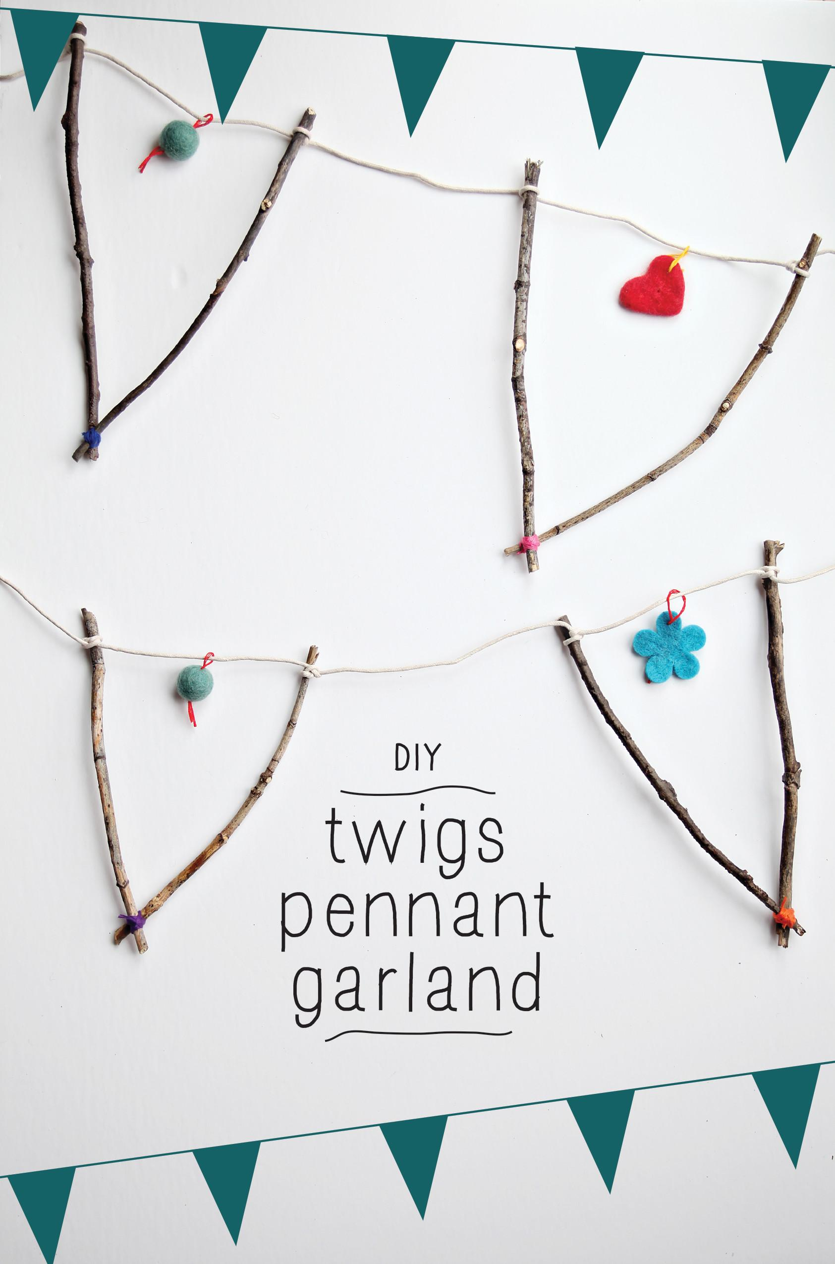 Diy Natural Twig Pennant Garland Fall Craft