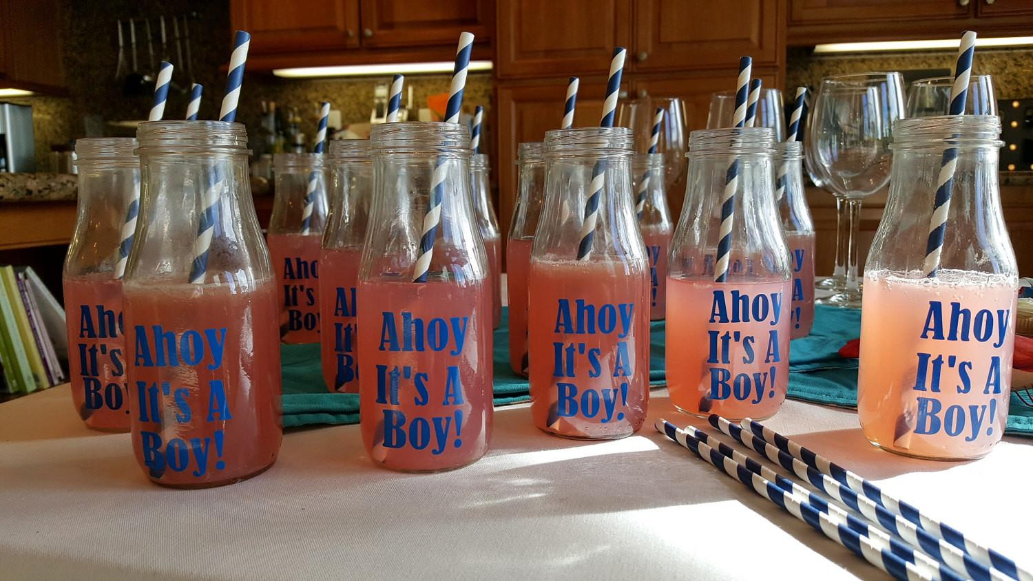 Diy Nautical Baby Boy Shower Milk Bottle Drink Recycled