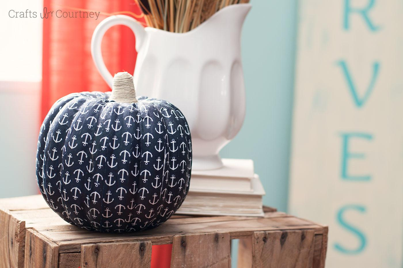 Diy Nautical Pumpkin Craft Mod Podge Rocks