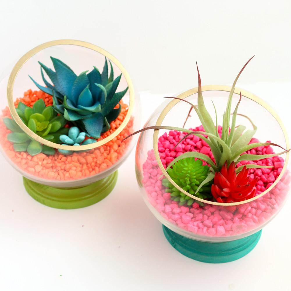 Diy Neon Footed Terrariums Kailo Chic Life