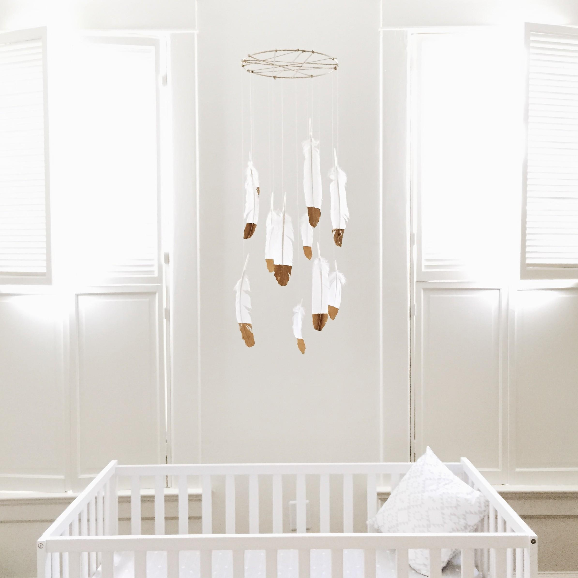 Diy Nursery Decor Gold Dipped Feather Mobile