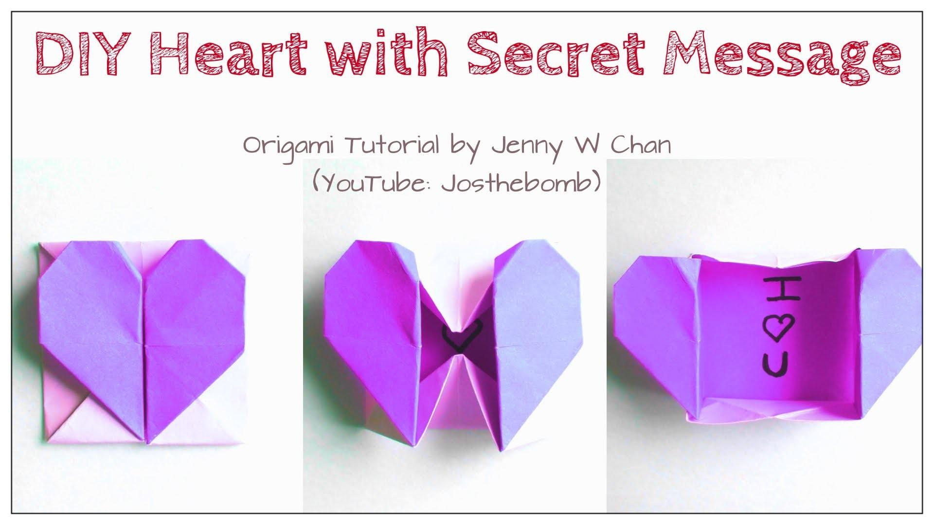 Diy Origami Heart Box Envelope Secret Message Pop