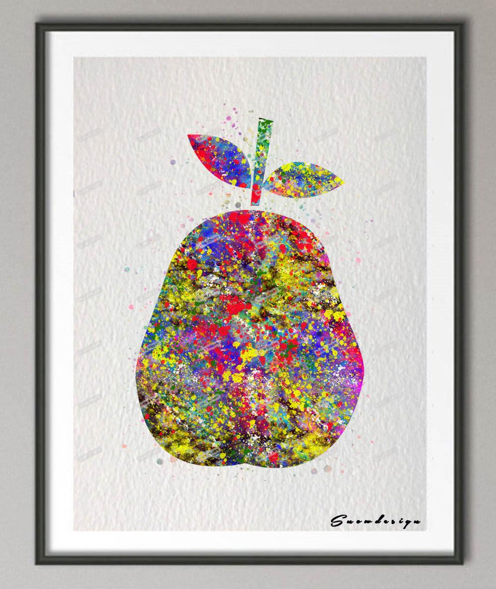 Diy Original Watercolor Pear Canvas Painting Fruit Wall