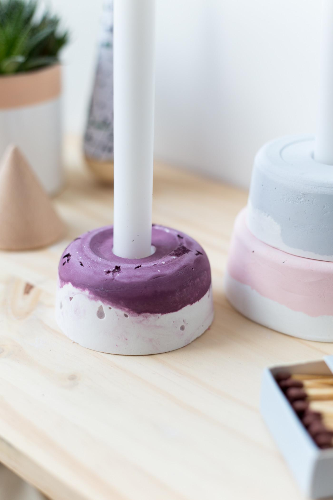 Diy Paint Dyed Plaster Candle Holder Fall