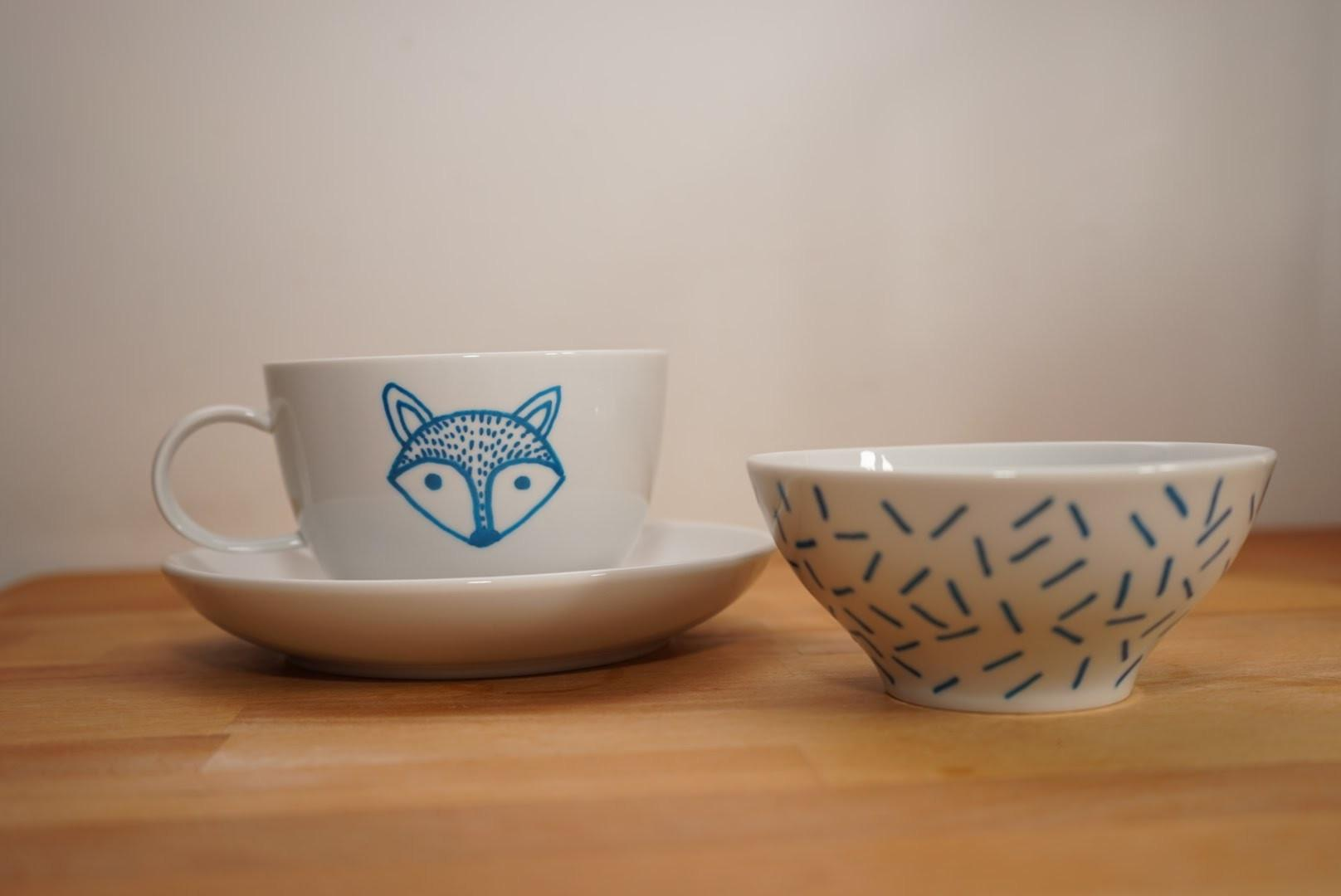 Diy Painted Fox Bowls Mugs Cups Porcelain Pen Easy