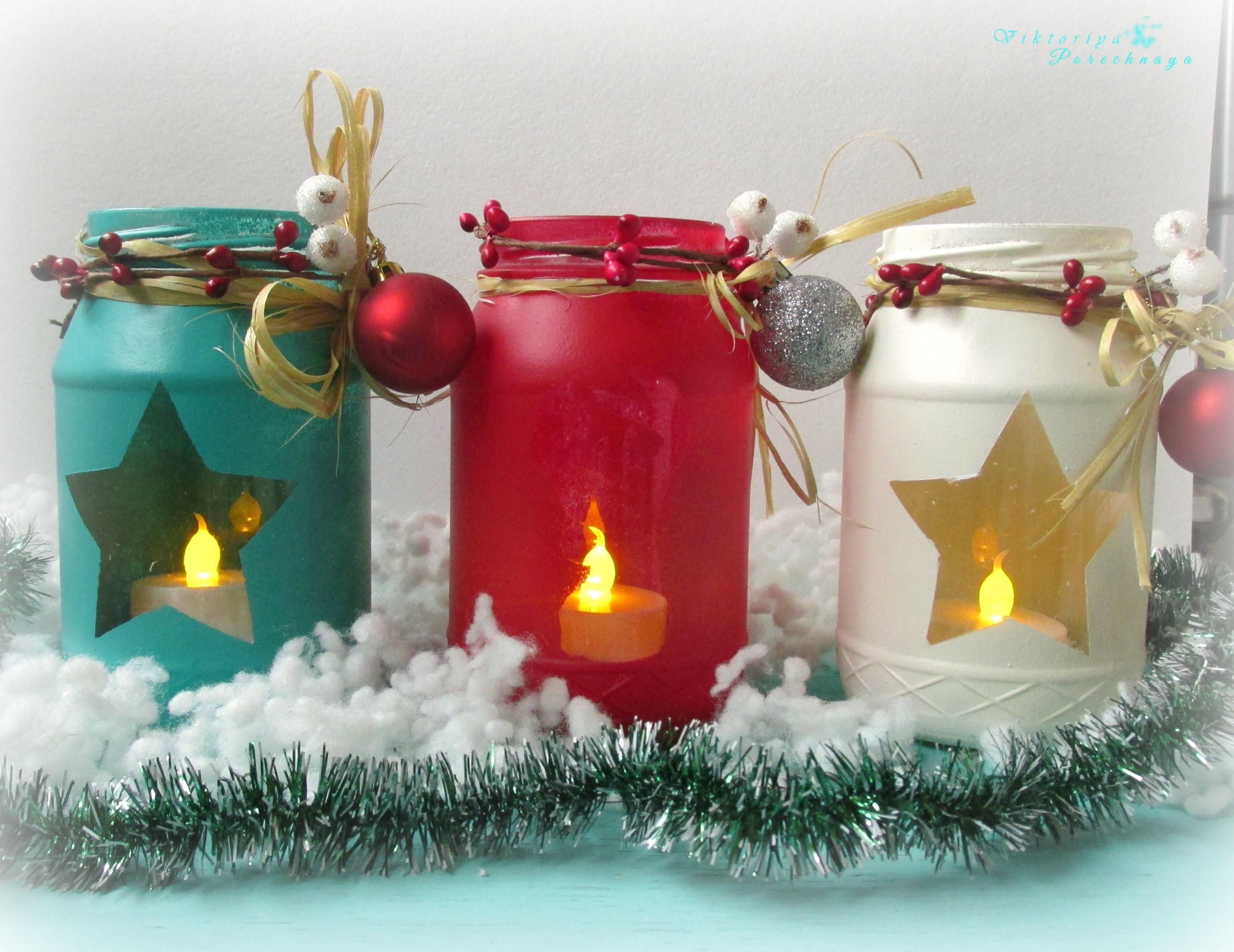 Diy Painted Holiday Mason Jars Handmade Stars