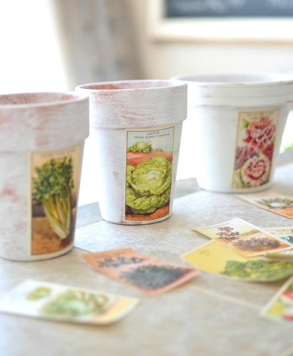 Diy Painted Pots Vintage French Labels