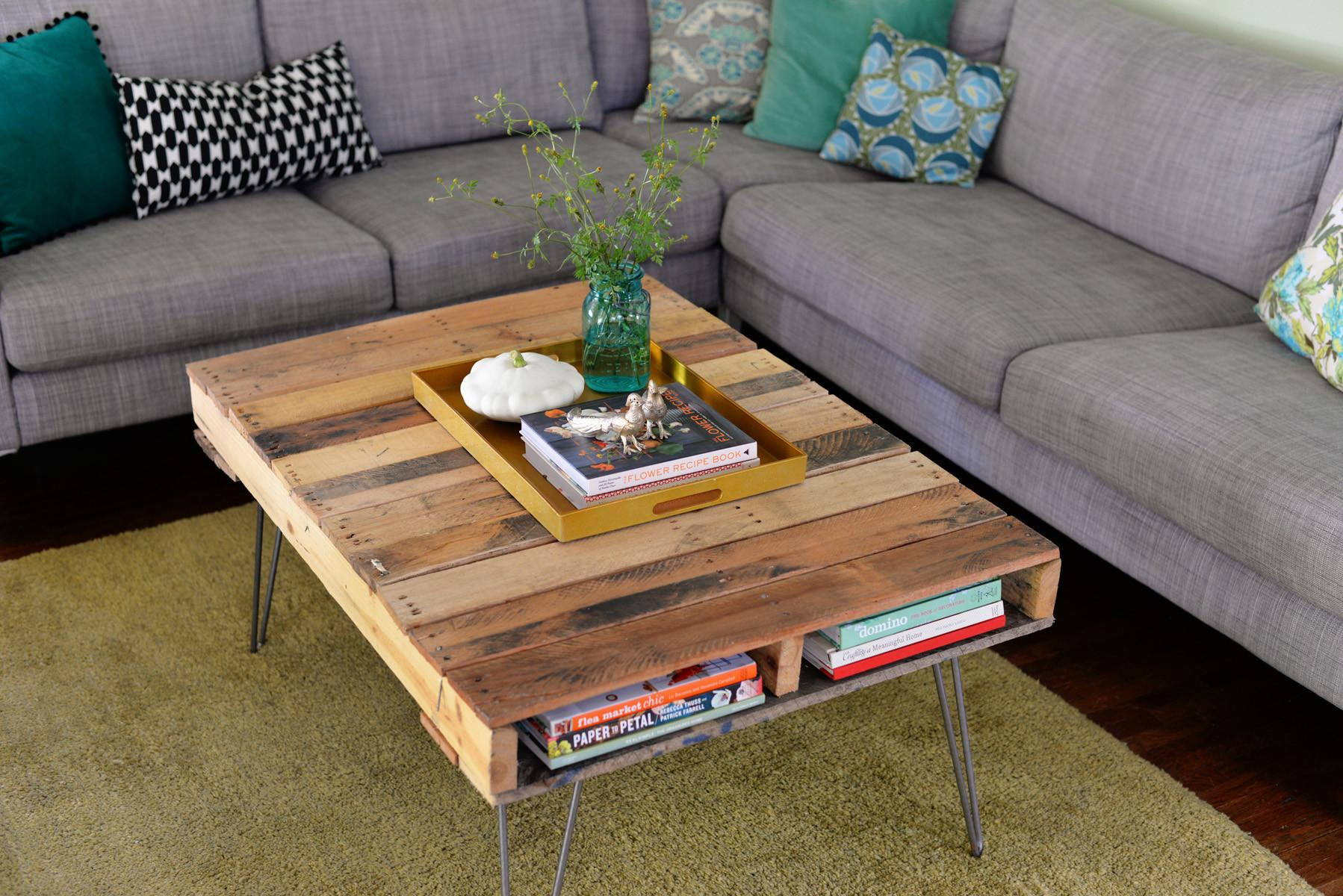 Diy Pallet Table Hairpin Legs