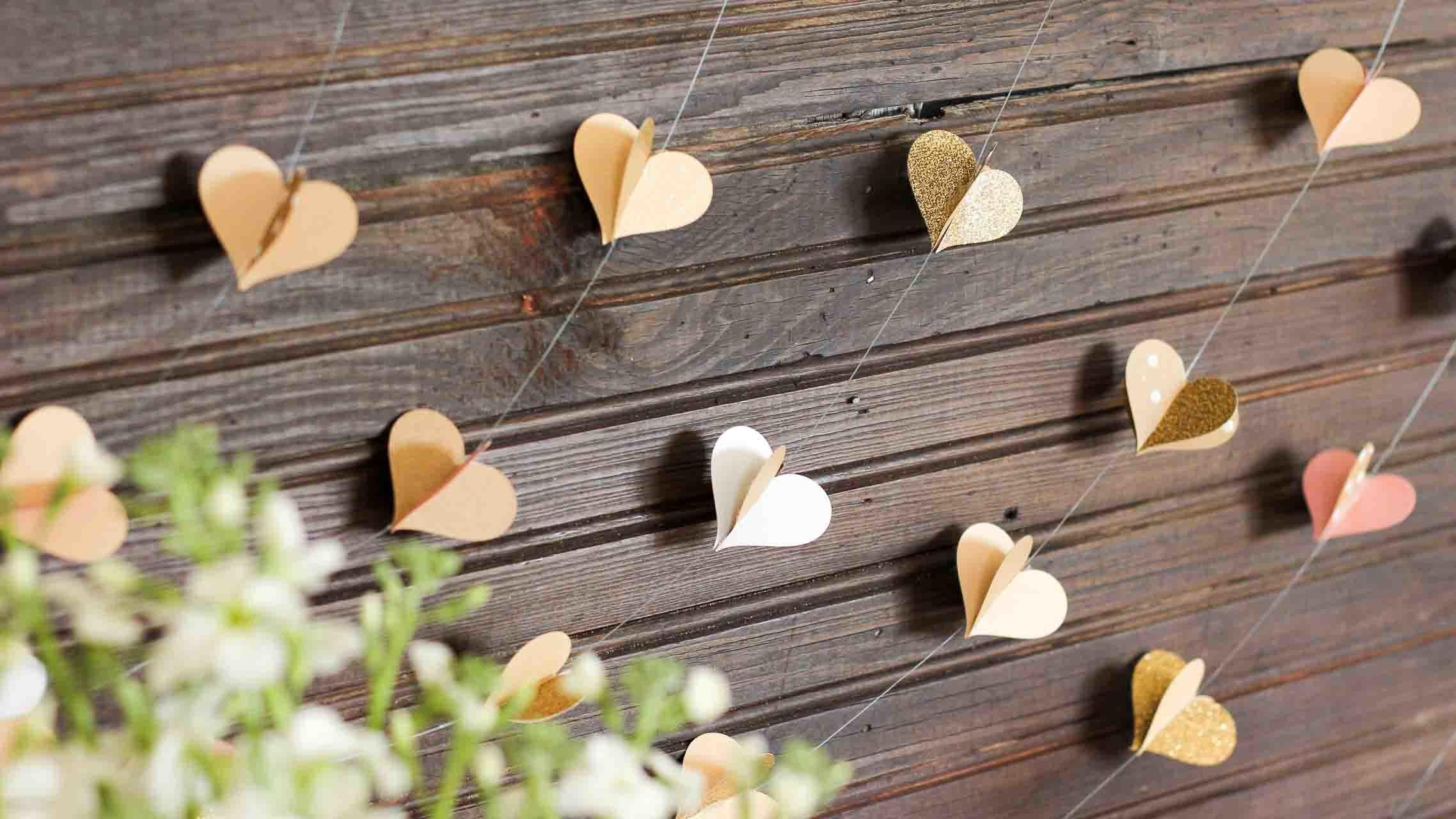 Diy Paper Heart Garland Wedding Booth Backdrop