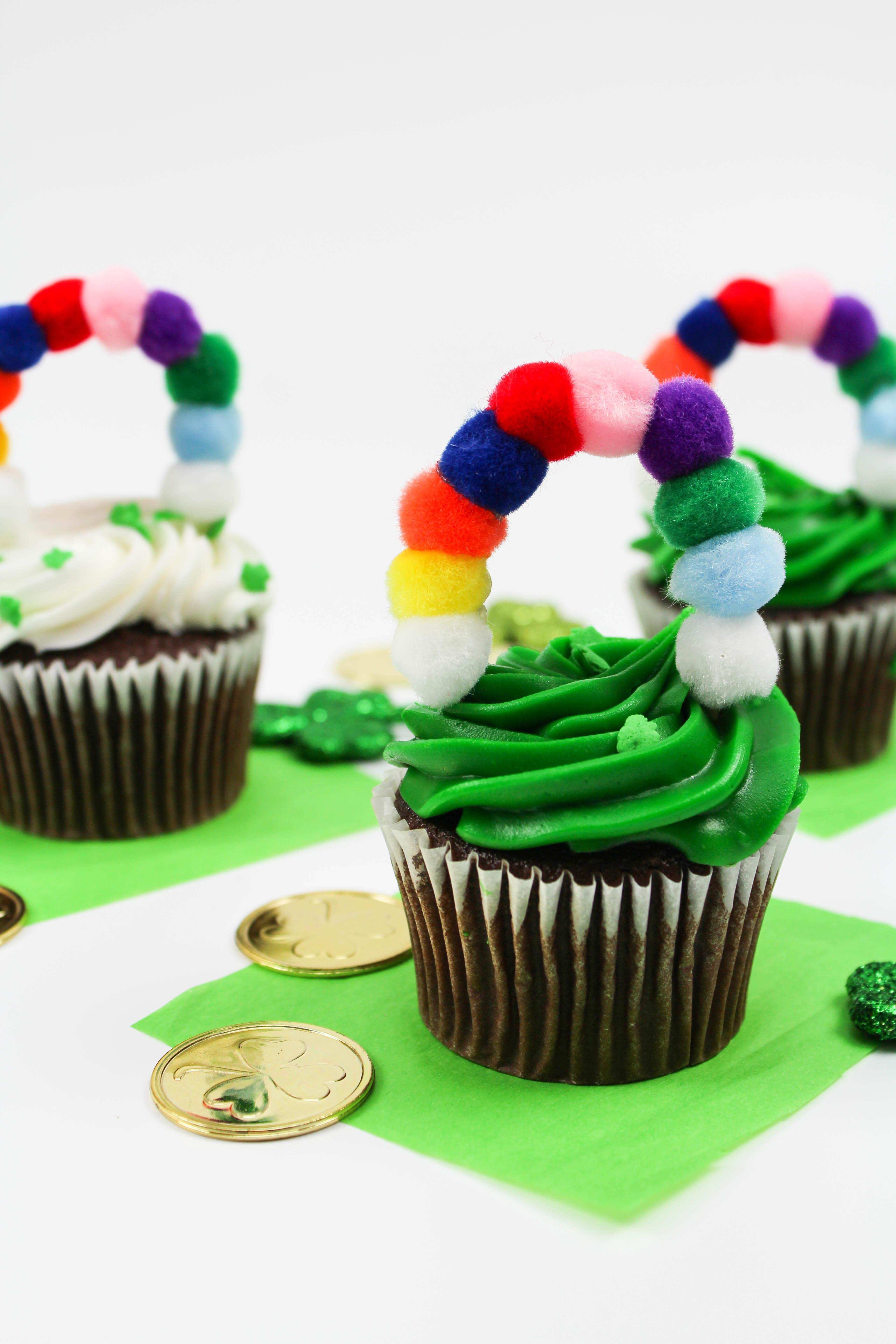 Diy Patricks Day Rainbow Cupcake Toppers Let