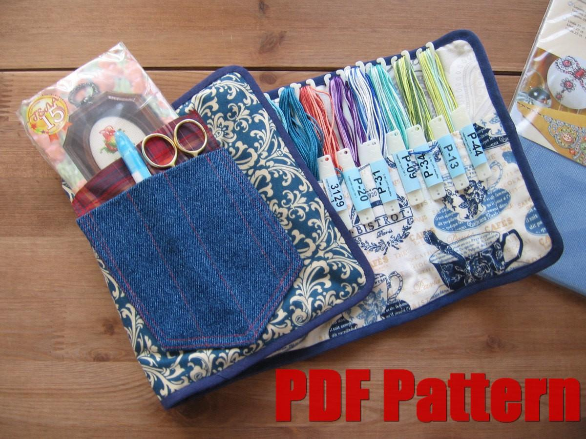 Diy Pdf Sewing Pattern Tutorial Embroidery Floss Case
